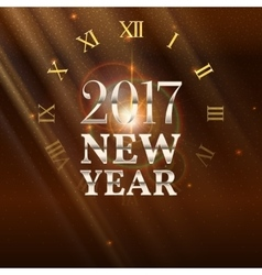 New year shining banner with clock vector