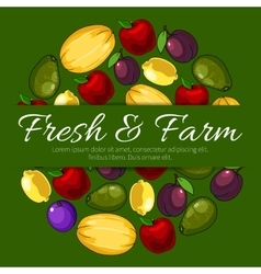 Poster with fresh farm fruits and text vector image