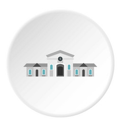 Railway station building icon circle vector