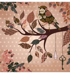 Retro background with leaves and bird of patches vector image