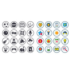 Set of games entertainment and services icons vector