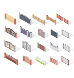 Set of Gates and Fences In Isometric Projection vector image vector image