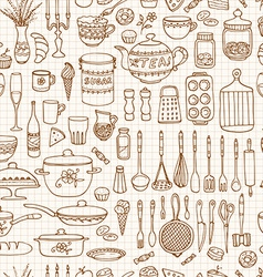 Set of hand drawn cookware vector image