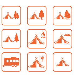 set of tylized icons of tourist tent vector image