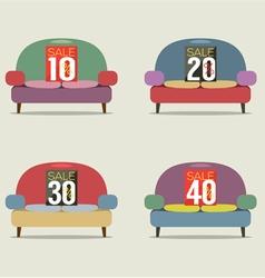 Set Of Vintage Sofas On Sale vector image