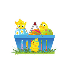 Shopping basket with easter eggs and chicks vector