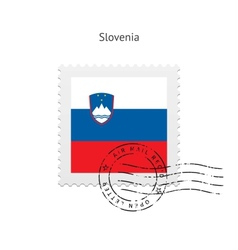 Slovenia flag postage stamp vector