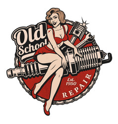 Spark plug pin up girl color version vector