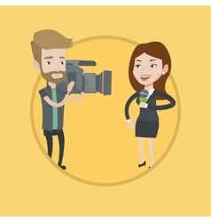 Tv reporter and operator vector