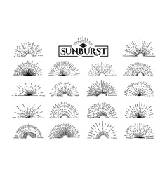 Vintage set sunburst vector image