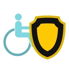 Wheelchair and shield icon flat style vector