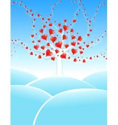 winter valentine tree vector image vector image