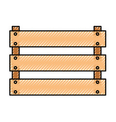 wooden basket flat in colored crayon silhouette vector image vector image