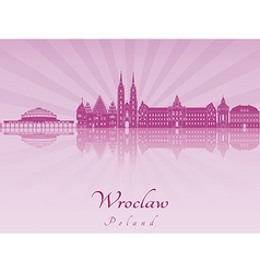 Wroclaw skyline in purple radiant orchid vector image