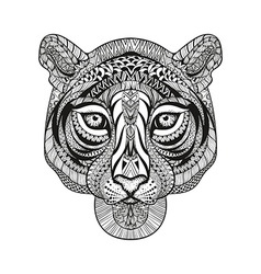 Zentangle stylized Tiger face Hand Drawn doodle vector image