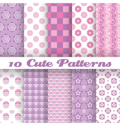 10 cute abstract geometric bright seamless vector