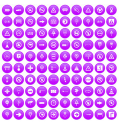 100 road signs icons set purple vector