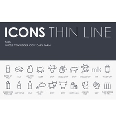 Milk thin line icons vector