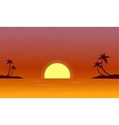 At sunset on seaside landscape vector