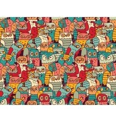 Funny owls birds group color seamless pattern vector