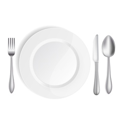 White plate with knife spoon and fork vector