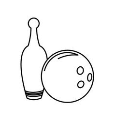 bowling ball and pin game funny line vector image