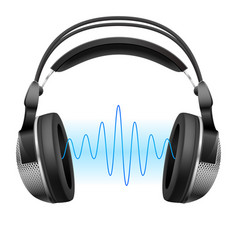 Realistic headphones and music wave on white vector