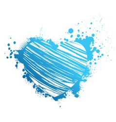 Blue grunge heart vector