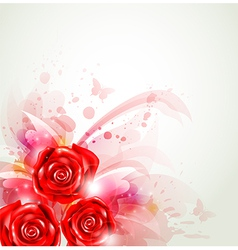 abstract background with red roses vector image