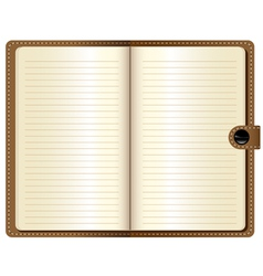 A leather notebook on white background vector image