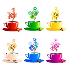 Icons set cup coffee color vector