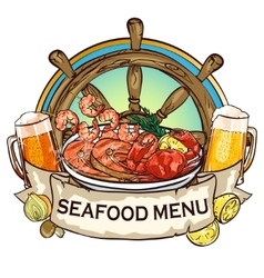 Seafood grill label design vector