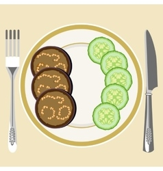 Eggplant on a plate vector