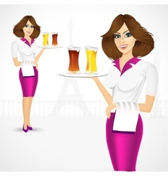 Waitress carrying beer on tray vector