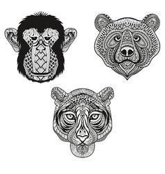 Zentangle stylized tiger monkey bear faces hand vector