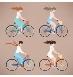 Girl on bike vector