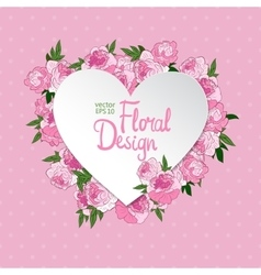 Floral frame heart shape vector