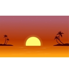 At sunset on seaside landscape vector image