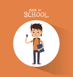 back to school boy student with smartphone bag and vector image vector image