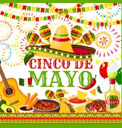 Cinco de mayo fiesta mexican greeting card vector