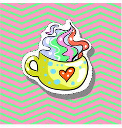 cup love with heart fashion patch badge pin vector image