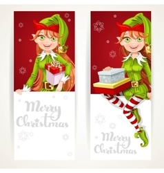 Cute Elf girls with gift on two vertical banners vector image vector image