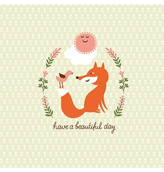 cute fox and bird vector image
