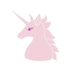 Cute pink unicorn with inscription vector image