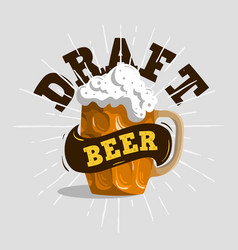 draft beer typographic label design with a mug o vector image