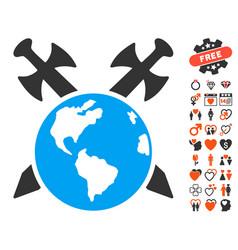 Earth swords icon with dating bonus vector