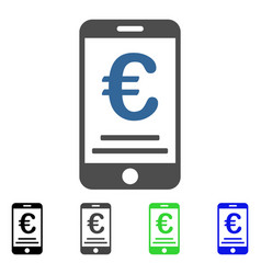 Euro mobile payment flat icon vector