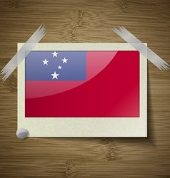 Flags Samoa at frame on wooden texture vector image
