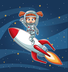 Girl on space with rocket cartoon vector