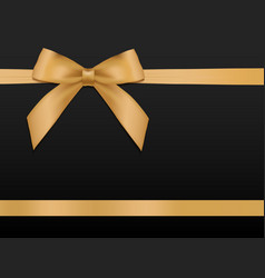 gold bow with ribbonsgift card template vector image vector image